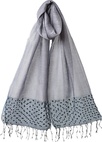Organza Bead Border Scarf, Light Steel - predominant colour: light grey; occasions: casual; style: regular; size: standard; embellishment: beading; pattern: plain; material: tulle/sheer