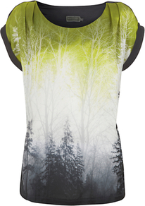Ombre Tree Print, Multi - neckline: round neck; style: standard; occasions: casual; length: standard; fibres: polyester/polyamide - 100%; fit: standard fit; predominant colour: multicoloured; sleeve length: short sleeve; sleeve style: standard; texture group: silky - light; pattern type: fabric; pattern size: big & busy; pattern: patterned/print