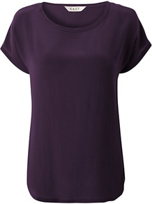 Silk Front T Shirt, Purple - pattern: plain; style: t-shirt; predominant colour: aubergine; occasions: casual; length: standard; fibres: silk - 100%; fit: straight cut; neckline: crew; sleeve length: short sleeve; sleeve style: standard; texture group: jersey - stretchy/drapey