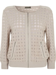 Lace Cardigan, Stone - neckline: round neck; pattern: plain; predominant colour: stone; occasions: casual; length: standard; style: standard; fibres: cotton - mix; fit: standard fit; sleeve length: long sleeve; sleeve style: standard; texture group: lace; pattern type: fabric; embellishment: lace