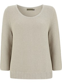 Lurex Knitwear, Stone - pattern: plain; style: standard; predominant colour: stone; occasions: casual; length: standard; fibres: cotton - mix; fit: standard fit; neckline: crew; sleeve length: 3/4 length; sleeve style: standard; texture group: knits/crochet; pattern type: knitted - other