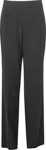 Flat Front Trousers, Black - pattern: plain; length: extra long; waist: mid/regular rise; predominant colour: black; occasions: evening, work; fit: straight leg; pattern type: fabric; texture group: woven light midweight; style: standard; fibres: viscose/rayon - mix