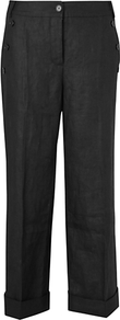 Capri Turned Up Trousers - pattern: plain; waist: mid/regular rise; predominant colour: black; occasions: casual, work; length: ankle length; fibres: linen - 100%; jeans &amp; bottoms detail: turn ups; texture group: linen; fit: straight leg; pattern type: fabric; style: standard