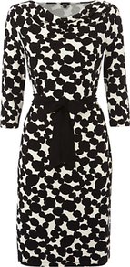 Soho Dress, Black/Ivory - style: shift; waist detail: belted waist/tie at waist/drawstring; bust detail: ruching/gathering/draping/layers/pintuck pleats at bust; secondary colour: white; predominant colour: black; occasions: evening, work, occasion; length: just above the knee; fit: body skimming; fibres: viscose/rayon - stretch; neckline: crew; sleeve length: 3/4 length; sleeve style: standard; trends: statement prints; pattern type: fabric; pattern size: standard; pattern: patterned/print; texture group: jersey - stretchy/drapey
