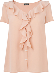 Waterfall Blouse, Light Peach - neckline: v-neck; pattern: plain; style: blouse; predominant colour: nude; occasions: evening; length: standard; fibres: silk - 100%; fit: loose; sleeve length: short sleeve; sleeve style: standard; texture group: sheer fabrics/chiffon/organza etc.; bust detail: tiers/frills/bulky drapes/pleats; pattern type: fabric