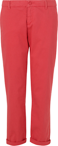 Dusted Chino Trousers, Pale Pink - pattern: plain; waist: mid/regular rise; predominant colour: coral; occasions: casual; length: calf length; style: chino; fibres: cotton - stretch; jeans &amp; bottoms detail: turn ups; texture group: cotton feel fabrics; fit: tapered; pattern type: fabric