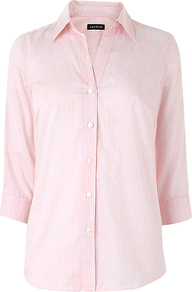 Stripe Shirt, Pale Pink - neckline: shirt collar/peter pan/zip with opening; style: shirt; pattern: pinstripe; secondary colour: white; predominant colour: blush; occasions: work; length: standard; fibres: cotton - mix; fit: straight cut; sleeve length: 3/4 length; sleeve style: standard; texture group: cotton feel fabrics; pattern type: fabric; pattern size: small &amp; light