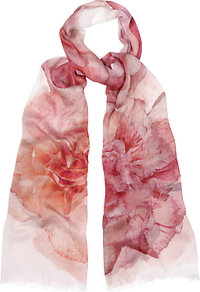 Watercolour Floral Scarf, Pink - predominant colour: pink; secondary colour: blush; occasions: casual; type of pattern: heavy; style: regular; size: standard; material: fabric; pattern: florals