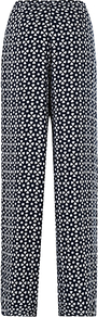 Embroidered Trousers, Navy - length: extra long; waist: mid/regular rise; secondary colour: white; predominant colour: navy; occasions: evening, occasion; fibres: viscose/rayon - 100%; trends: statement prints; fit: straight leg; pattern type: fabric; pattern size: small &amp; busy; pattern: patterned/print; texture group: other - light to midweight; style: standard