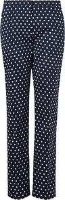 Spotty Ankle Trousers, Navy - pattern: polka dot; waist: mid/regular rise; secondary colour: white; predominant colour: navy; occasions: casual, evening, occasion; length: ankle length; fibres: cotton - stretch; fit: slim leg; pattern type: fabric; pattern size: small & busy; texture group: woven light midweight; style: standard