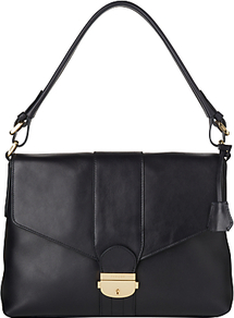 Fontaine Shoulder Bag, Navy - predominant colour: navy; occasions: casual, evening, work; type of pattern: standard; style: shoulder; length: shoulder (tucks under arm); size: standard; material: leather; pattern: plain; finish: plain