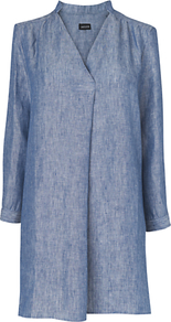 Linen Tunic Top, Chambray - pattern: plain; style: tunic; predominant colour: denim; occasions: casual; neckline: mandarin with v-neck; fibres: linen - 100%; fit: loose; length: mid thigh; sleeve length: long sleeve; sleeve style: standard; texture group: linen; pattern type: fabric