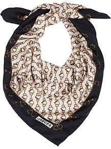 Snaffle Print Scarf, Cream/Black - predominant colour: white; secondary colour: black; occasions: casual; type of pattern: standard; style: square; size: standard; material: silk; pattern: patterned/print