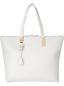Posey Tote, White - predominant colour: white; occasions: casual, work, holiday; type of pattern: standard; style: tote; length: handle; size: oversized; material: leather; pattern: plain; finish: plain