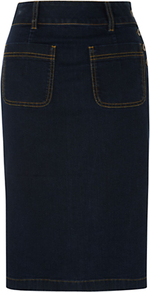 Nadine Skirt, Indigo - pattern: plain; style: pencil; fit: tailored/fitted; hip detail: front pockets at hip; waist: high rise; predominant colour: navy; occasions: casual; length: on the knee; fibres: cotton - mix; texture group: denim; pattern type: fabric