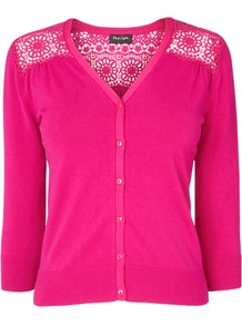 Sabina Lace Cardigan, Cerise - neckline: v-neck; pattern: plain; shoulder detail: contrast pattern/fabric at shoulder; back detail: contrast pattern/fabric at back; predominant colour: hot pink; occasions: casual, work, occasion; length: standard; style: standard; fit: slim fit; sleeve length: 3/4 length; sleeve style: standard; texture group: knits/crochet; pattern type: knitted - fine stitch; fibres: viscose/rayon - mix; embellishment: lace