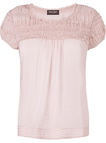 Willow Top, Dusty Pink - neckline: round neck; sleeve style: puffed; pattern: plain; predominant colour: blush; occasions: casual; length: standard; style: top; fit: straight cut; shoulder detail: flat/draping pleats/ruching/gathering at shoulder; sleeve length: short sleeve; texture group: cotton feel fabrics; pattern type: fabric; fibres: viscose/rayon - mix