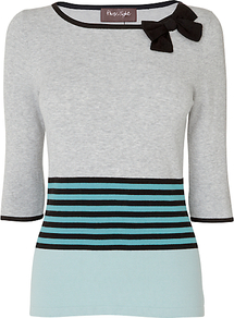 Priscilla Jumper, Mint - neckline: slash/boat neckline; pattern: horizontal stripes; style: standard; secondary colour: mint green; predominant colour: light grey; occasions: casual, work; length: standard; fit: slim fit; shoulder detail: added shoulder detail; sleeve length: 3/4 length; sleeve style: standard; texture group: knits/crochet; pattern type: knitted - fine stitch; pattern size: big & light; fibres: viscose/rayon - mix