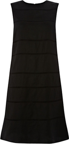 Conway Dress, Black - style: shift; pattern: plain; sleeve style: sleeveless; predominant colour: black; occasions: evening, work, occasion; length: just above the knee; fit: soft a-line; fibres: linen - 100%; neckline: crew; sleeve length: sleeveless; texture group: linen; pattern type: fabric