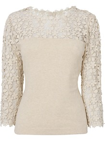 Suzy Jumper, Cream - pattern: plain; style: standard; shoulder detail: contrast pattern/fabric at shoulder; back detail: contrast pattern/fabric at back; predominant colour: ivory; occasions: casual; length: standard; fibres: cotton - mix; fit: slim fit; neckline: crew; bust detail: contrast pattern/fabric/detail at bust; sleeve length: 3/4 length; sleeve style: standard; texture group: knits/crochet; pattern type: knitted - fine stitch; embellishment: lace