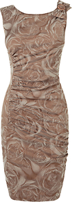 Madison Stretch Jacquard Dress, Praline - style: shift; neckline: round neck; fit: tailored/fitted; sleeve style: sleeveless; predominant colour: taupe; occasions: evening, occasion; length: just above the knee; fibres: polyester/polyamide - stretch; shoulder detail: added shoulder detail; sleeve length: sleeveless; trends: high impact florals; pattern type: fabric; pattern size: big &amp; busy; pattern: florals; texture group: other - light to midweight