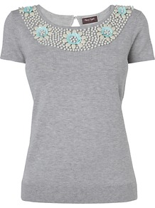 Lu Lu Top, Grey - neckline: round neck; pattern: plain; bust detail: added detail/embellishment at bust; style: t-shirt; predominant colour: light grey; occasions: casual; length: standard; fit: body skimming; back detail: keyhole/peephole detail at back; sleeve length: short sleeve; sleeve style: standard; pattern type: fabric; texture group: jersey - stretchy/drapey; embellishment: beading; fibres: viscose/rayon - mix