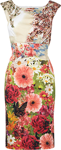 Flora Dress, Multi - style: shift; neckline: round neck; fit: tailored/fitted; sleeve style: sleeveless; waist detail: fitted waist; predominant colour: white; secondary colour: pink; occasions: evening, occasion; length: just above the knee; fibres: cotton - stretch; sleeve length: sleeveless; texture group: cotton feel fabrics; trends: high impact florals; pattern type: fabric; pattern size: big &amp; busy; pattern: florals