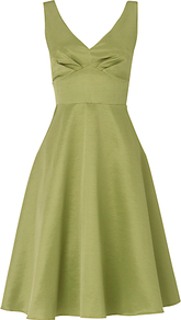 Contessa Dress, Leaf - neckline: low v-neck; pattern: plain; sleeve style: sleeveless; style: prom dress; waist detail: wide waistband/cummerbund; back detail: low cut/open back; bust detail: ruching/gathering/draping/layers/pintuck pleats at bust; predominant colour: lime; occasions: evening, occasion; length: on the knee; fit: fitted at waist &amp; bust; fibres: cotton - mix; hip detail: soft pleats at hip/draping at hip/flared at hip; sleeve length: sleeveless; texture group: structured shiny - satin/tafetta/silk etc.; trends: volume; pattern type: fabric