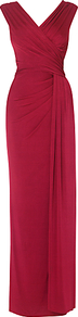 Minueta Full Length Dress, Rose - neckline: v-neck; pattern: plain; sleeve style: sleeveless; style: maxi dress; waist detail: twist front waist detail/nipped in at waist on one side/soft pleats/draping/ruching/gathering waist detail; predominant colour: true red; occasions: evening, occasion; length: floor length; fit: body skimming; fibres: viscose/rayon - stretch; sleeve length: sleeveless; pattern type: fabric; texture group: jersey - stretchy/drapey
