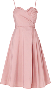 Concerto Dress, Dusty Pink - sleeve style: spaghetti straps; fit: fitted at waist; pattern: plain; style: full skirt; neckline: sweetheart; predominant colour: blush; occasions: evening, occasion; length: just above the knee; fibres: polyester/polyamide - 100%; sleeve length: sleeveless; texture group: sheer fabrics/chiffon/organza etc.; trends: volume; pattern type: fabric