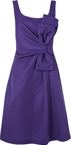 Symphony Bow Dress, Aubergine - fit: fitted at waist; pattern: plain; sleeve style: sleeveless; waist detail: embellishment at waist/feature waistband; back detail: low cut/open back; bust detail: ruching/gathering/draping/layers/pintuck pleats at bust; predominant colour: aubergine; occasions: evening, occasion; length: on the knee; style: fit & flare; neckline: scoop; fibres: cotton - mix; sleeve length: sleeveless; texture group: structured shiny - satin/tafetta/silk etc.; pattern type: fabric