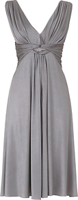 Aria Dress, Pewter - style: empire line; neckline: low v-neck; fit: empire; pattern: plain; sleeve style: sleeveless; waist detail: twist front waist detail/nipped in at waist on one side/soft pleats/draping/ruching/gathering waist detail; bust detail: knot twist front detail at bust; predominant colour: mid grey; occasions: evening, occasion; length: just above the knee; fibres: polyester/polyamide - mix; shoulder detail: flat/draping pleats/ruching/gathering at shoulder; sleeve length: sleeveless; texture group: silky - light; pattern type: fabric