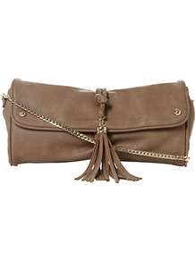 Eplait Tasseled Clutch Bag - predominant colour: taupe; occasions: casual, evening, work; type of pattern: standard; style: clutch; length: hand carry; size: small; material: faux leather; embellishment: tassels; pattern: plain; finish: plain