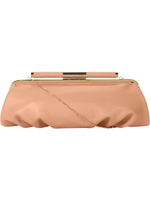 Spiceya Slouch Clutch Bag - predominant colour: nude; occasions: evening, work, occasion; type of pattern: standard; style: clutch; length: hand carry; size: small; material: faux leather; pattern: plain; finish: plain