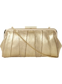 Buffyina Suede Clutch Bag, Champagne - predominant colour: gold; occasions: evening, occasion; type of pattern: standard; style: clutch; length: hand carry; size: small; material: faux leather; embellishment: pleated; pattern: plain; trends: metallics; finish: metallic