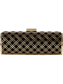 Bashment Suede Metal Grid Clutch Bag, Black - secondary colour: gold; predominant colour: black; occasions: evening, occasion; type of pattern: large; style: clutch; length: hand carry; size: small; material: suede; pattern: checked/gingham; finish: plain; embellishment: chain/metal
