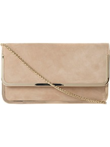 Bavy Suede Flap Over Front Clutch Bag - predominant colour: nude; occasions: evening, occasion; type of pattern: standard; style: clutch; length: hand carry; size: small; material: suede; pattern: plain; finish: plain; embellishment: chain/metal