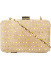 Blushing Studded Suede Clutch Bag, Taupe - secondary colour: lime; predominant colour: stone; occasions: evening, occasion; type of pattern: small; style: clutch; length: hand carry; size: small; material: suede; embellishment: studs; pattern: plain; finish: plain