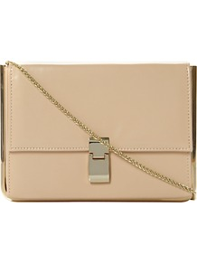 Braizen Leather Flap Over Front Clutch Bag, Nude - predominant colour: stone; occasions: evening, work, occasion; type of pattern: standard; style: clutch; length: hand carry; size: small; material: leather; pattern: plain; finish: plain