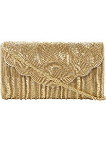 Egical Beaded Flap Over Front Clutch Bag - predominant colour: gold; occasions: evening, occasion; type of pattern: light; style: clutch; length: hand carry; size: small; material: fabric; embellishment: beading; pattern: plain; trends: metallics; finish: metallic