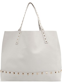 Studded Shopper Handbag, White - predominant colour: white; occasions: casual, work, holiday; type of pattern: standard; style: tote; length: handle; size: oversized; material: faux leather; embellishment: studs; pattern: plain; finish: plain