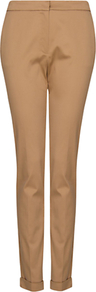 Tailored Cropped Trousers, Camel - pattern: plain; pocket detail: small back pockets, pockets at the sides; waist: mid/regular rise; predominant colour: camel; occasions: evening, work, holiday; length: ankle length; fibres: cotton - stretch; hip detail: fitted at hip (bottoms); waist detail: narrow waistband; jeans & bottoms detail: turn ups; fit: slim leg; pattern type: fabric; texture group: other - light to midweight; style: standard