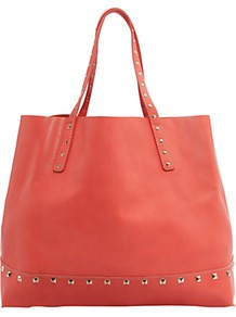 Studded Shopper Handbag, Coral - predominant colour: coral; occasions: casual, work, holiday; type of pattern: standard; style: tote; length: handle; size: oversized; material: faux leather; embellishment: studs; pattern: plain; finish: plain