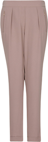 Tapered Trousers, Mystery - pattern: plain; style: peg leg; waist: mid/regular rise; predominant colour: taupe; occasions: evening, work, occasion; length: ankle length; fibres: polyester/polyamide - 100%; hip detail: front pleats at hip level; texture group: cotton feel fabrics; fit: tapered; pattern type: fabric