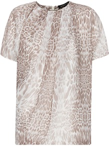 Animal Print Sheer Top, Mystery - bust detail: ruching/gathering/draping/layers/pintuck pleats at bust; predominant colour: camel; occasions: casual; length: standard; style: top; fibres: polyester/polyamide - 100%; fit: body skimming; neckline: crew; sleeve length: short sleeve; sleeve style: standard; pattern type: fabric; pattern size: small &amp; busy; pattern: animal print; texture group: jersey - stretchy/drapey
