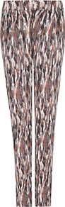 Printed Jersey Trousers, Mystery - length: standard; style: peg leg; waist: mid/regular rise; predominant colour: chocolate brown; occasions: casual; fibres: viscose/rayon - stretch; fit: tapered; pattern type: fabric; pattern size: standard; pattern: patterned/print; texture group: jersey - stretchy/drapey