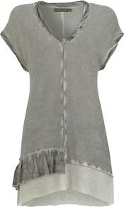Ruffle Hem Tunic, Green Khaki - neckline: low v-neck; sleeve style: capped; pattern: plain; length: below the bottom; style: tunic; predominant colour: sage; secondary colour: light grey; occasions: casual, holiday; fibres: viscose/rayon - 100%; fit: body skimming; sleeve length: short sleeve; pattern type: fabric; texture group: jersey - stretchy/drapey
