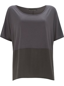 Woven Hem T Shirt, Khaki - neckline: round neck; style: t-shirt; predominant colour: sage; secondary colour: mid grey; occasions: casual; length: standard; fibres: viscose/rayon - 100%; fit: loose; sleeve length: half sleeve; sleeve style: standard; pattern type: fabric; pattern: colourblock; texture group: jersey - stretchy/drapey