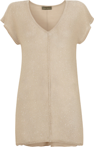 Sequin Front Knitted Top, Neutrals - neckline: v-neck; pattern: plain; length: below the bottom; predominant colour: stone; occasions: casual, evening; style: top; fibres: polyester/polyamide - mix; fit: body skimming; back detail: longer hem at back than at front; sleeve length: short sleeve; sleeve style: standard; texture group: knits/crochet; pattern type: knitted - fine stitch; embellishment: sequins