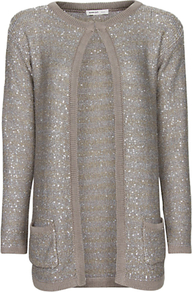 Sequined Long Cardigan, Grey - pattern: plain; length: below the bottom; neckline: collarless open; style: open front; predominant colour: mid grey; occasions: casual, evening; fibres: polyester/polyamide - mix; fit: standard fit; sleeve length: long sleeve; sleeve style: standard; texture group: knits/crochet; pattern type: knitted - other; embellishment: sequins